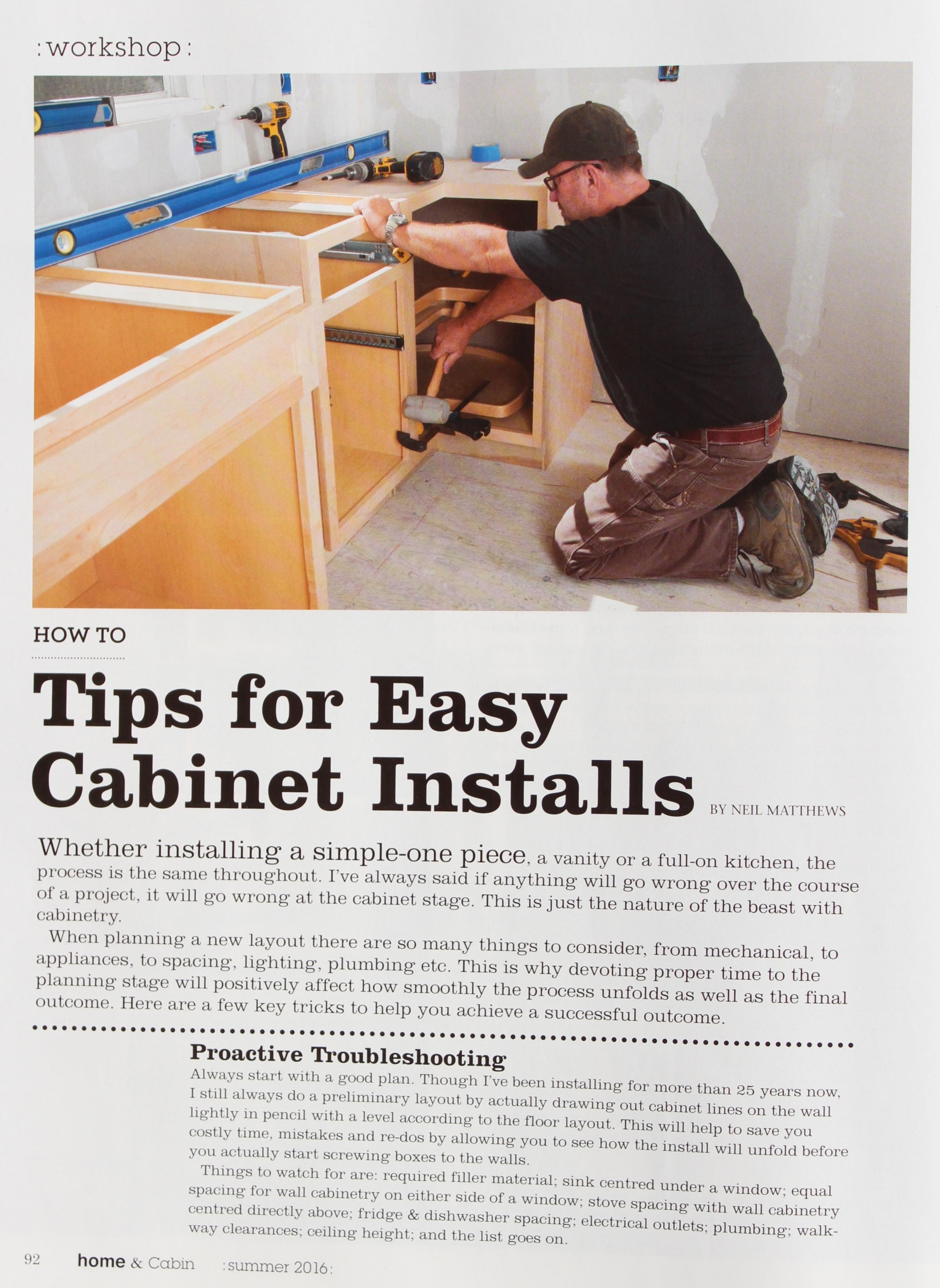 Tips For Easy Cabinet Installs
